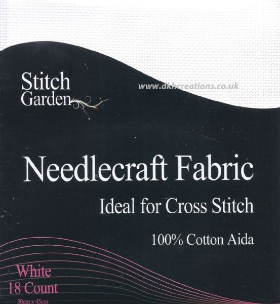 Stitch Garden White 18 Count Aida Fabric
